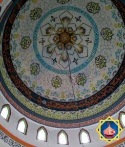 Plafon Kubah Masjid Airbrush Grafik Kaligrafi sinarsuryaabadi
